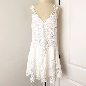 Free People Lace-Linen White Dress